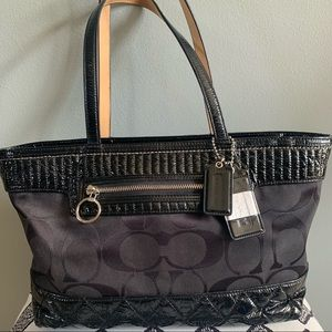 Coach Poppy Black Signature Quilt Patent Tote